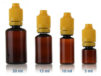 ELIQUID CHILD RESISTANT DROPPER - AMBER PET BOTTLES