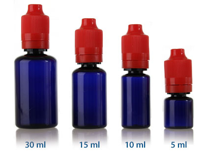 ELIQUID CHILD RESISTANT DROPPER - COBALT BLUE PET BOTTLES