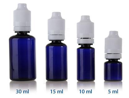 ELIQUID CHILD RESISTANT DROPPER - COBALT BLUE PET BOTTLES