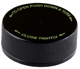 CHILD RESISTANT - SMOOTH TOP PE LINED CLOSURES - BLACK WITH GREEN TEXT