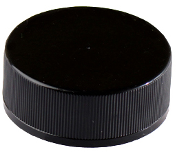 CHILD RESISTANT - RIBBED - BLACK NO TEXT - PTFE - TEFLON LINED CAPS