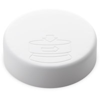 Smooth Sided Child Resistant Closures - Debossed Pictorial - PE LINED Matte White CAPS