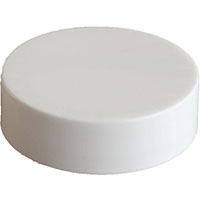 CHILD RESISTANT - SMOOTH SIDED - WHITE NO TEXT - PTFE - TEFLON LINED CAPS