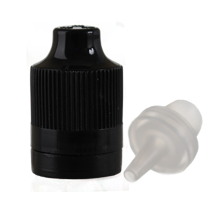 CHILD RESISTANT TIP AND CAP FOR PET PEN BOTTLE - BLACK  CAPS