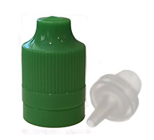 ELIQUID CHILD RESISTANT AND TAMPER EVIDENT OVERCAP - GREEN WITH LONG TIP PLUG CAPS