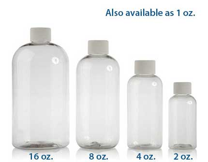BOSTON ROUND PLASTIC CLEAR - PET BOTTLES