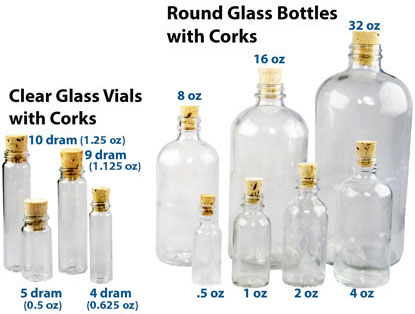 CORKED ROUND GLASS BOTTLES