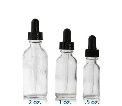 GLASS DROPPER BOSTON ROUND CLEAR - GLASS BOTTLES
