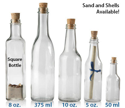 MESSAGE IN A BOTTLE  - WITH TAPERED CORKS GLASS BOTTLES