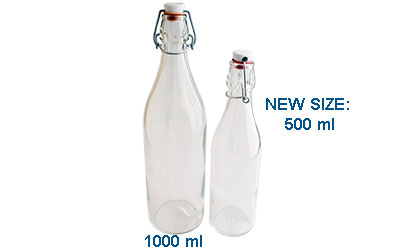 SWING TOP ROUND WITH WIRE BAIL STOPPERS  - GLASS BOTTLES