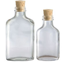 GLASS FLASKS WITH CORKS BOTTLES