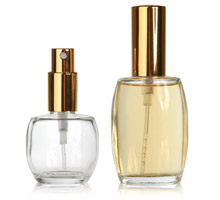 FRAGRANCE OVALS WITH GOLD FRAGRANCE PUMPS - GLASS BOTTLES