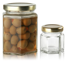 HEXAGONAL GLASS JARS