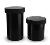 OUNCE SIZE - AIRTIGHT OPAQUE CHILD RESISTANT JARS BLACK