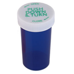 PUSH DOWN AND TURN VIALS - TRANSLUCENT BLUE BOTTLES