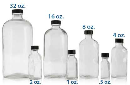 BOSTON ROUNDS CLEAR  -  GLASS  BOTTLES