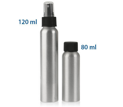 80 ml ALUM BRUSHED ALUMINUM BOTTLES 24/410 in Silver