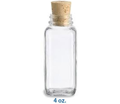 SQUARE GLASS CORK BOTTLES