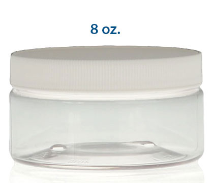 8 oz PET HEAVY WALL JARS - STRAIGHT SIDED 89/400 in Clear