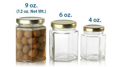 6 oz HEXAGONAL JARS 58/TWIST OFF in Clear