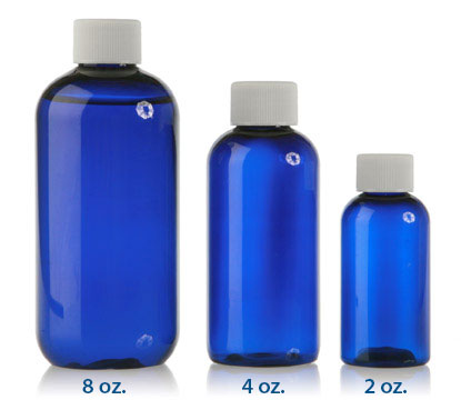BOSTON ROUND COBALT BLUE - PET BOTTLES