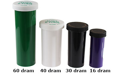 PUSH DOWN AND TURN - OPAQUE - DISPENSARY ASSORTMENT - COLOR CODED SIZES BOTTLES