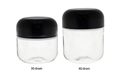 ROUND BASE PET DESIGNER JAR CHILD RESISTANT - CLEAR BOTTLES
