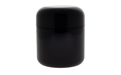 ROUND BASE GLASS DESIGNER JARS CHILD RESISTANT - GLOSSY BLACK  BOTTLES