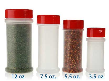 SPICE JARS - PP (sizes in fluid ounces) BOTTLES