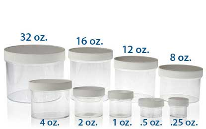 STRAIGHT SIDED SINGLE WALL PLASTIC JARS - CLEAR PS BOTTLES