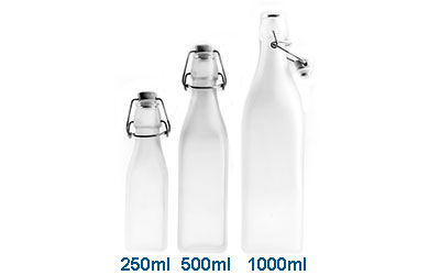 Swing Top Wire Bail Squares - Frosted White BOTTLES