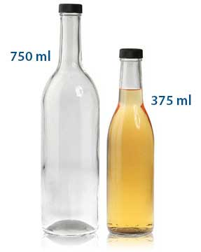 375 ml WINE BOTTLES 28/400 in Clear