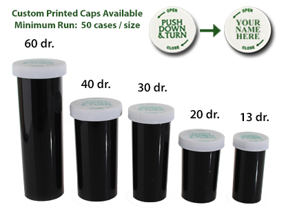 PUSH DOWN AND TURN VIALS - OPAQUE BLACK BOTTLES