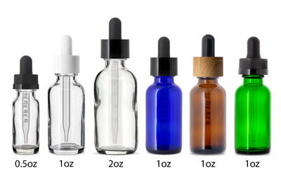 2 oz ELIQUID DROPPER BOTTLES - CHILD RESISTENT 20/400 in Cobalt Blue