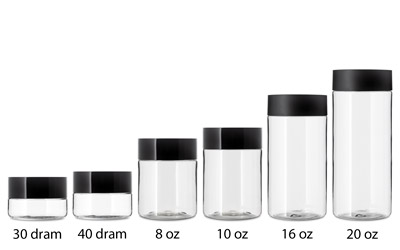 66MM STRAIGHT SIDED CHILD RESISTANT PET JARS - CLEAR BOTTLES
