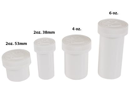 1/16th, 1/8th, 1/4 oz AIR-TIGHT OPAQUE CHILD RESISTANT JARS WHITE BOTTLES