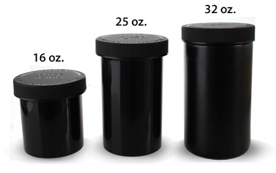 OUNCE SIZE - AIRTIGHT OPAQUE CHILD RESISTANT JARS BLACK BOTTLES