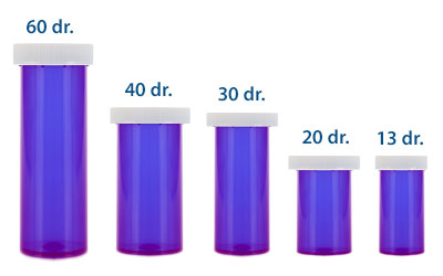 PUSH DOWN AND TURN VIALS - OPAQUE PURPLE BOTTLES