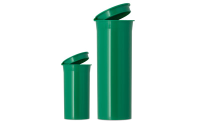 POP TOP VIALS - OPAQUE GREEN - USA BOTTLES