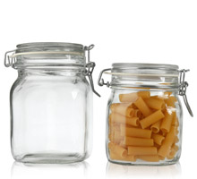 FIDO WIRE BAIL SQUARE CANNING JARS - GLASS BOTTLES