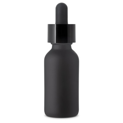 FROSTED DROPPER BOTTLES CHILD RESISTANT - BLACK (MATTE)