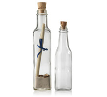MESSAGE IN A BOTTLE  - WITH TAPERED CORKS GLASS