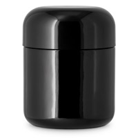 ROUND BASE GLASS DESIGNER JARS CHILD RESISTANT - GLOSSY BLACK