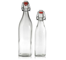 SWING TOP BOTTLES  WIRE BAIL (BALE) SQUARE GLASS BOTTLES