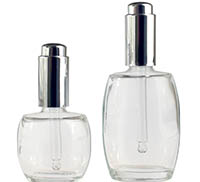 COSMETIC OVALS WITH SILVER PUSH BUTTON DROPPERS BOTTLES