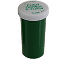 PUSH DOWN AND TURN VIALS - OPAQUE GREEN BOTTLES