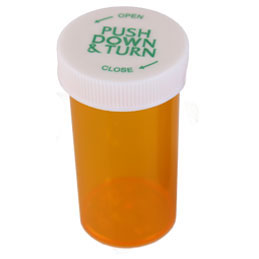 PUSH DOWN AND TURN VIALS - TRANSLUCENT AMBER