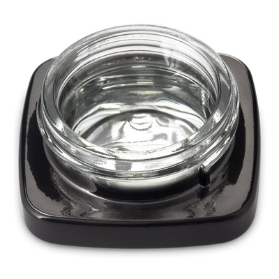 SQUARE THICK WALL CONCENTRATE JARS GLOSSY BLACK WITH SILVER INSIDE