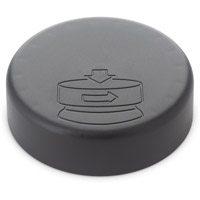 ROUND BASE GLASS DESIGNER JARS CHILD RESISTANT - MATTE BLACK  CAPS